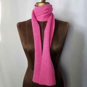 Fuzzy knit Pink metallic gold wool blend scarf